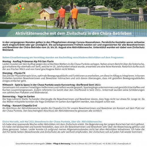 Aktivitätenwoche mit dem Zivilschutz in den Chüra-Betrieben