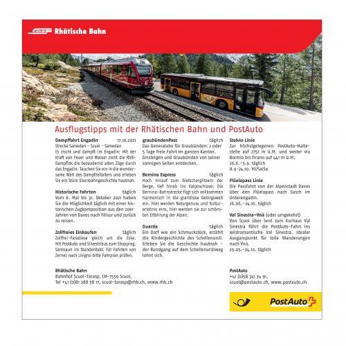 Ausflugstipps mit der Rhätischen Bahn und PostAuto