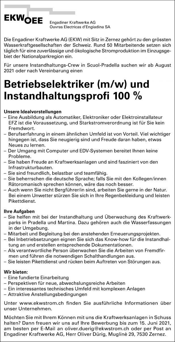 Betriebselektriker (m/w) und Instandhaltungsprofi 100 %