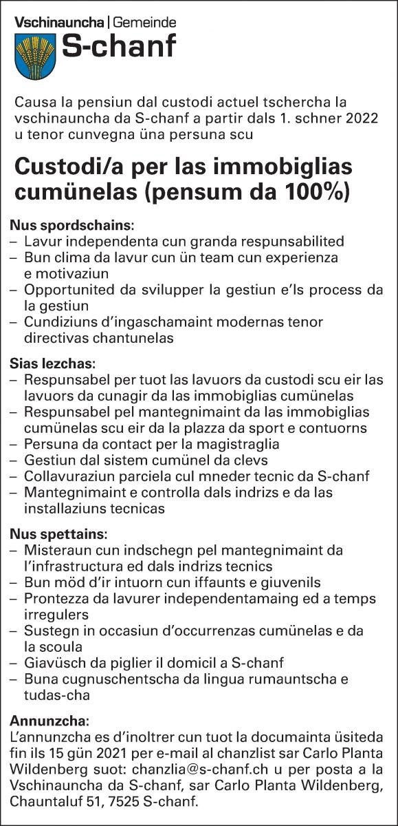 Custodi/a per las immobiglias cumünelas (pensum da 100%)